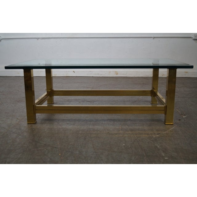 Mastercraft Mastercraft Brushed Brass & Glass Coffee Table For Sale - Image 4 of 10