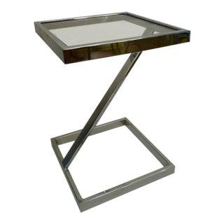 1970s Hollywood Regency Chrome & Glass Pedestal Table For Sale