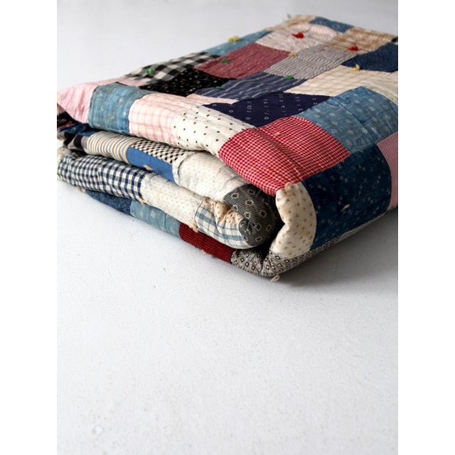 Vintage Hand-Tied Patchwork Quilt For Sale - Image 10 of 10