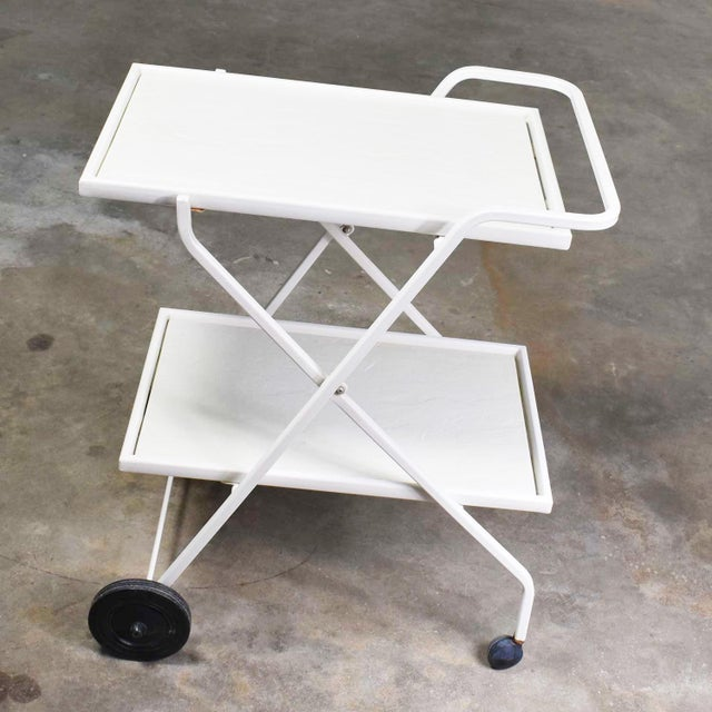 Mid 20th Century Mid Century Modern Samsonite Tiered Patio Drink Cart of Fiberglass and Enameled Steel Tube in White For Sale - Image 5 of 13
