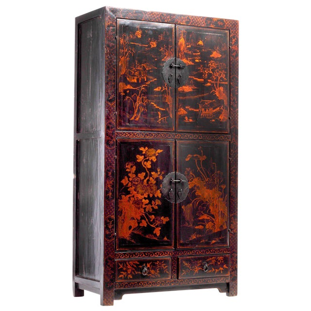 Black Lacquered Cabinet with Hand-Painted Landscape from China, 19th Century For Sale