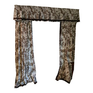 Chinoiserie Toile Brown Window Panels and Valance Set For Sale