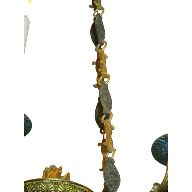Green Two-Toned Empire 10 Light Bronze Chandelier For Sale - Image 8 of 11