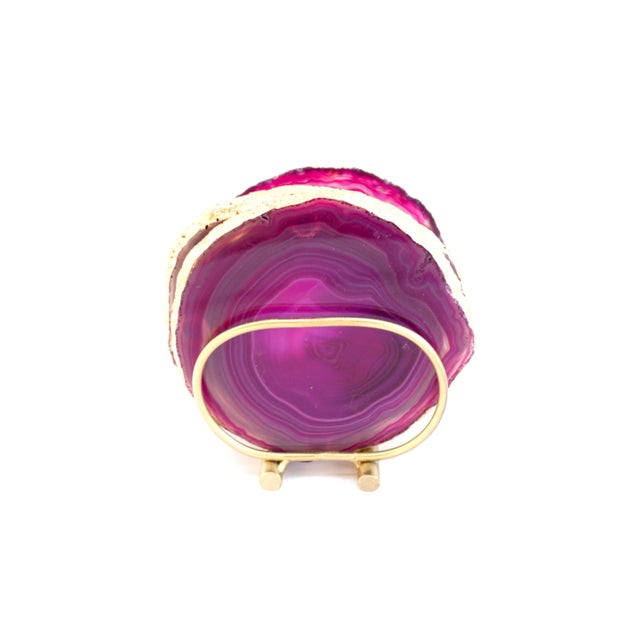 Abstract Gold Trim Magenta Hot Pink Agate Slice Coasters & Caddy | High Quality Natural Brazilian Sliced Agate | Set of 4 For Sale - Image 3 of 13