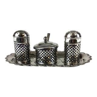 Vintage Formal Silver Plate Salt & Pepper Set, England - 5 Pieces For Sale