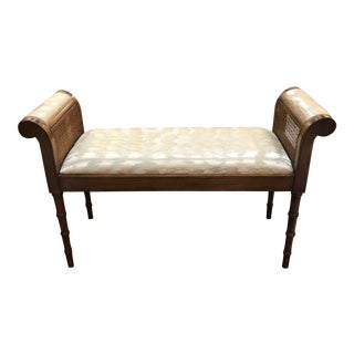 Curved Arm Faux Bamboo Bench With Upholstered Seat and Caning For Sale