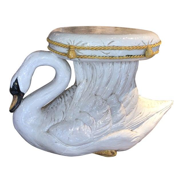 Italian Glazed Terracotta Swan Garden Seat For Sale