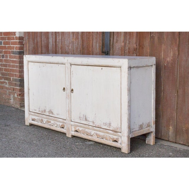 Asian Antique White Farmhouse Rustic Asian Cabinet For Sale - Image 3 of 11