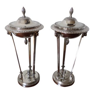 Bombay Company Regency Style Silver-Plate Sweetmeat Dishes - a Pair For Sale