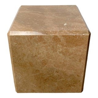 1970s Maitland Smith Style Pink Marble Cube For Sale