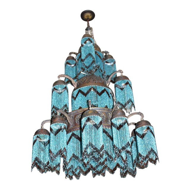 Vintage 3-Tier Turquoise Beaded Brass Chandelier - Image 1 of 3