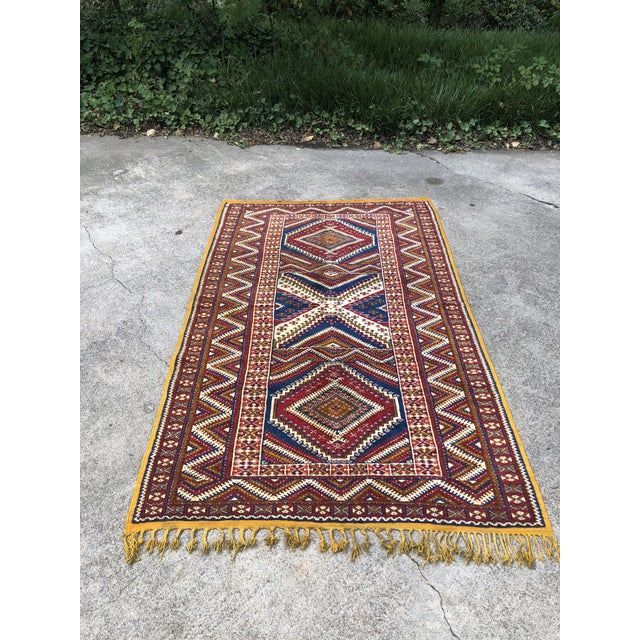 Textile 1950s Vintage Moroccan Hand Knotted Rug- 5′ × 8′6″ For Sale - Image 7 of 10
