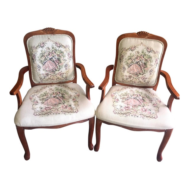 French Provincial Tapestry Salon Chairs - A Pair For Sale