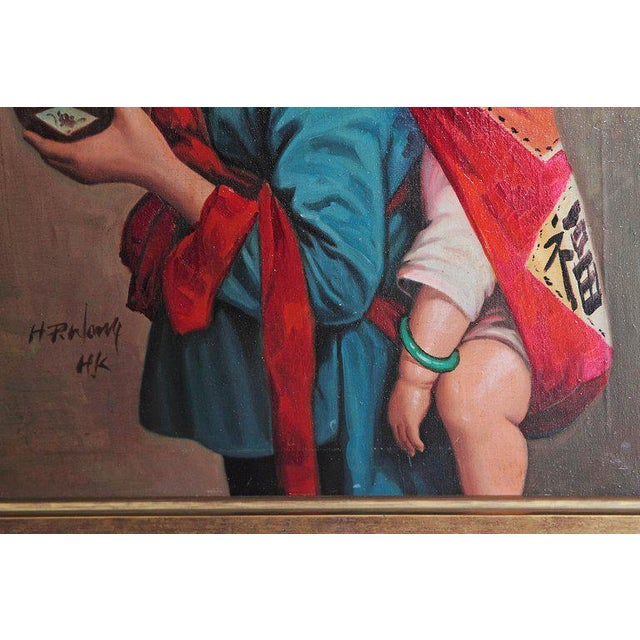 Mid 20th Century Chinese Oil Painting of Young Girl Carrying Baby For Sale - Image 5 of 12