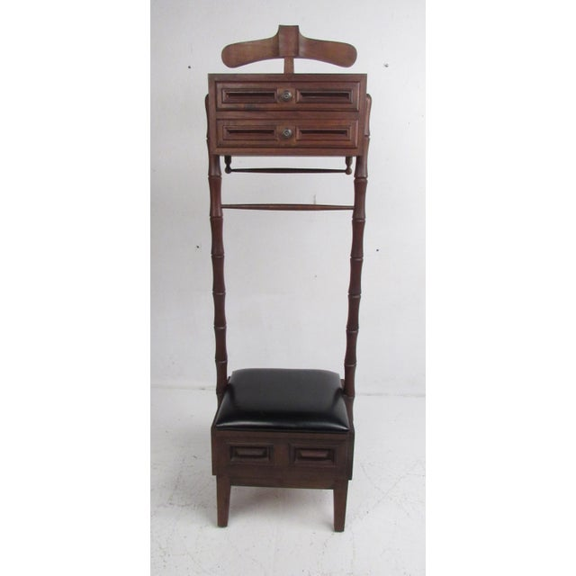 Vintage Walnut and Vinyl Valet Chair For Sale - Image 4 of 13