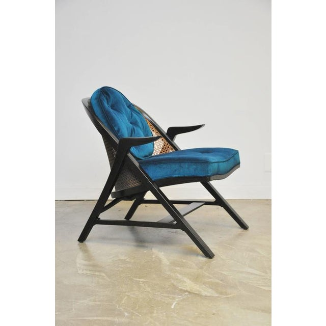 Sculptural form lounge chair by Edward Wormley for Dunbar. Restored and reupholstered. Dunbar espresso tone frame with...