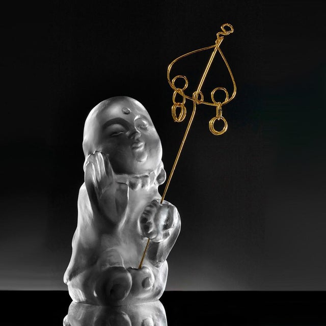 """Contemporary Crystal Buddha, """"Joyous and Worry-Free, I Am Not Afraid"""" in Dark Grey For Sale - Image 3 of 3"""