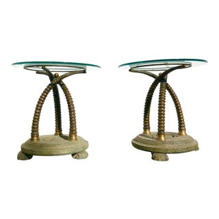 Regency Style Faux Rams Horn Side Tables-A Pair For Sale