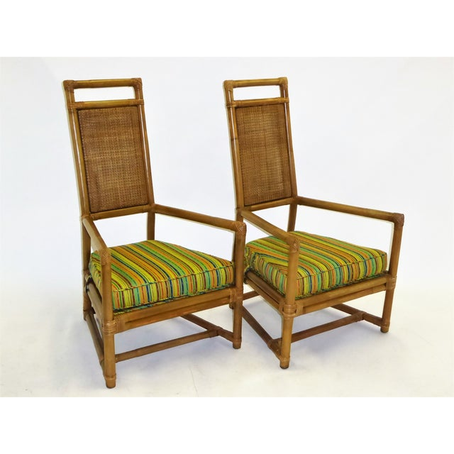 Pair of Tommi Parzinger High Back Rattan Armchairs for Willow & Reed Pavillion Collection, 1950s For Sale - Image 13 of 13