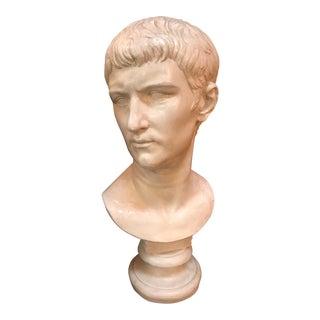 Bust of Ottaviano Augusto, Roman Emperor, Plaster Portrait, Copy in Scale 1/1