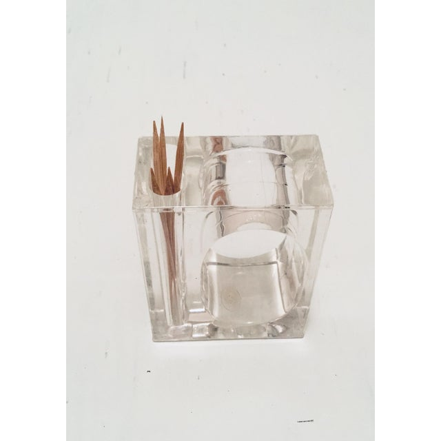 Set of 4 Mid Century Modern Hollywood Regency Rectangular Shaped Clear Lucite with unique separate side compartment for...