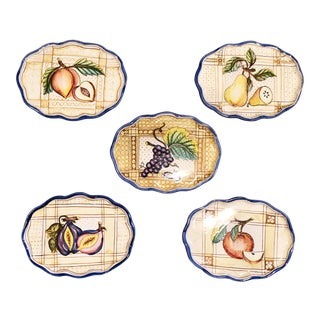 1980s Italian Hand Painted Small Plates - Set of 5 For Sale