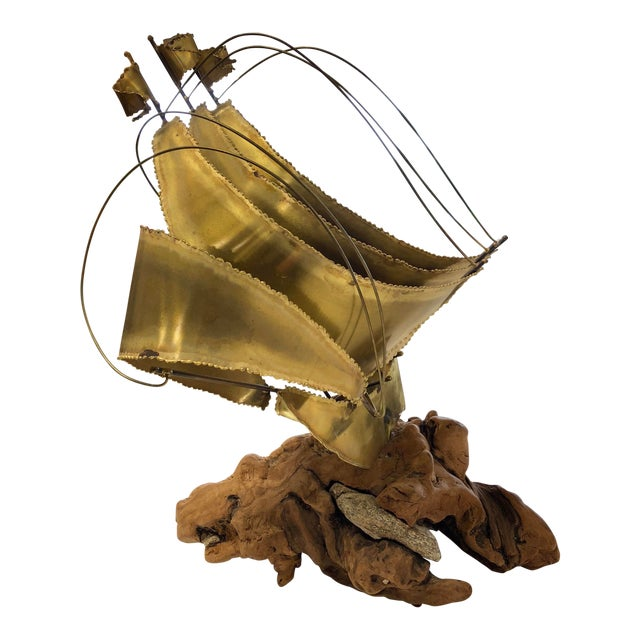 Mid-Century Modern Burl Wood and Brass Sailboat Sculpture For Sale