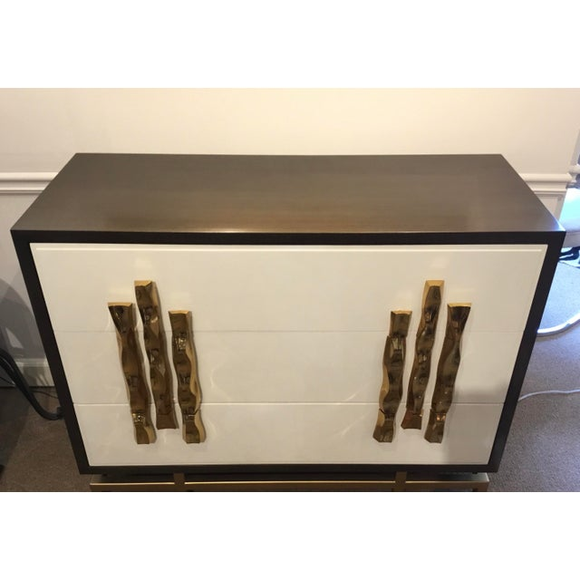 Original Retail $4800, stylish Ambella Home Modern Origami Chest of Drawers, brown wood frame with white door fronts,...