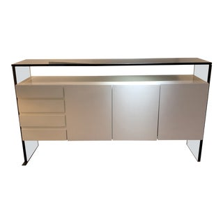 Milo Baughman Acrylic and White Lacquer Credenza For Sale