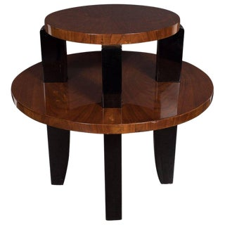 French Art Deco Two-Tier Occasional/Side Table in Walnut and Black Lacquer For Sale