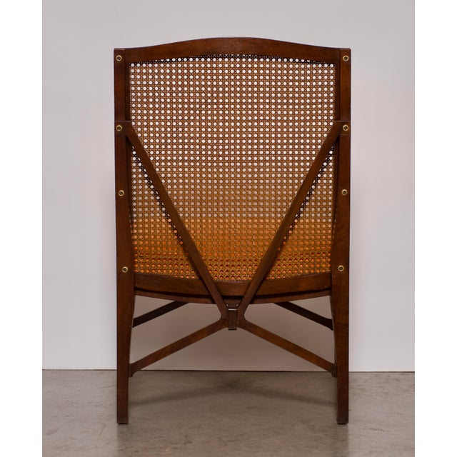 """Metal 1940s Antique """"American of Chicago"""" Mid-Century Modern Walnut & Cane Accent Chair With Side Table For Sale - Image 7 of 13"""