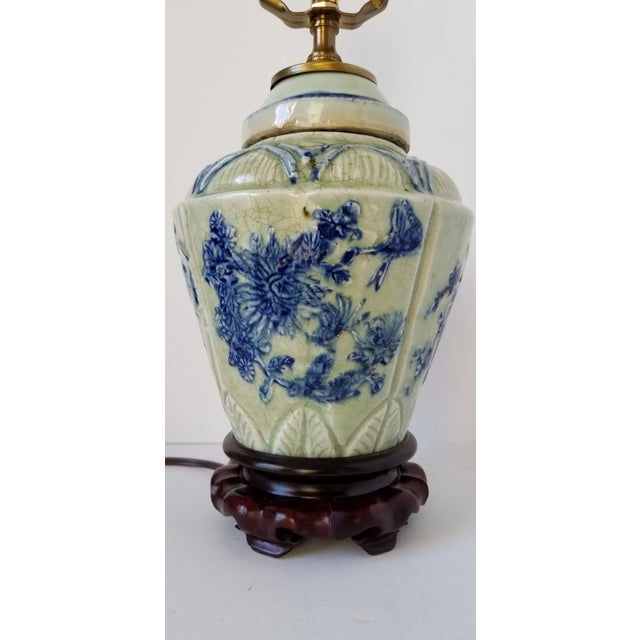 Mid 20th Century Antique Chinese Celadon Ginger Jar Lamp For Sale - Image 5 of 9