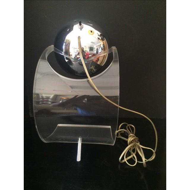 Chrome Eyeball & Lucite Lamp by Robert Sonneman For Sale - Image 5 of 7
