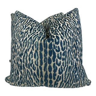 "Teal Leopard Print Chenille 22"" Pillows-A Pair For Sale"