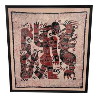 Vintage Tribal Custom Framed Print on Silk For Sale