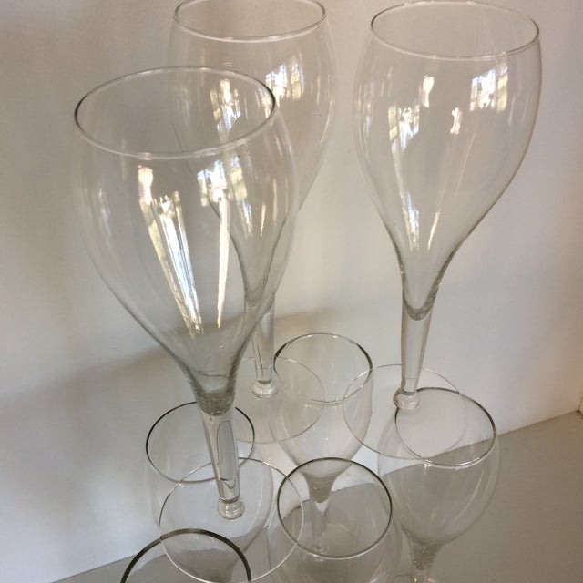 Transparent Crisa Hand Blown Crystal Tulip Style Champagne Glasses - Set of 8 For Sale - Image 8 of 13