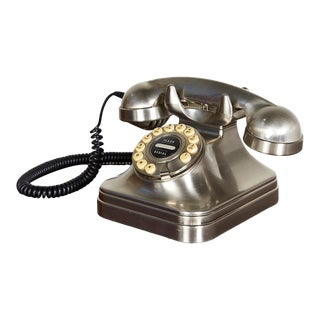 Retro Brushed Nickel Push Button Telephone For Sale