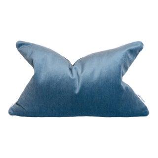 Contemporary Blue Sky Velvet Pillow With White Welt - 16 X 24 For Sale