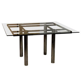 """1968 Mid Century Italian Metal """"Andre"""" Square Glass Top Dining Table by Tobia Scarpa For Sale"""