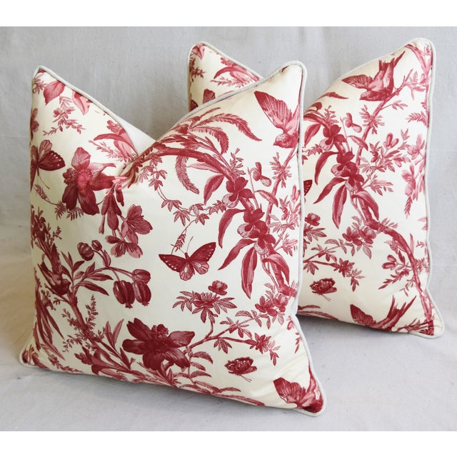 "Red P. Kaufmann Aviary & Floral Toile Feather/Down Pillows 23"" Square - Pair For Sale - Image 8 of 13"