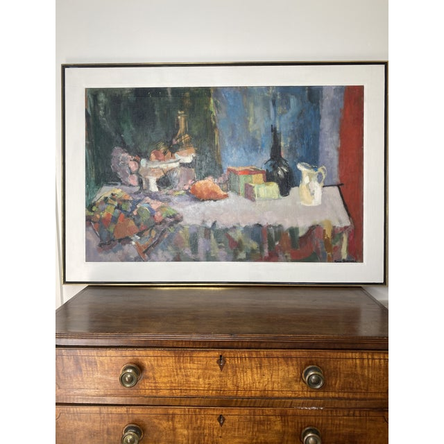 Great looking oversized original mid century modern abstract still life oil painting by artist Sonia Schelpark. Painting...