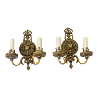 Early 20th Century Lion Electric Ornate Sconces - a Pair For Sale