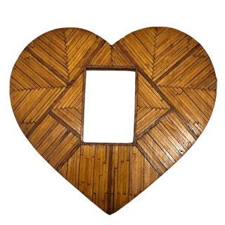 Vintage Heart-Shaped Tramp Art Matchstick Picture Frame For Sale