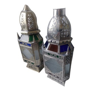 Vintage Moroccan Colored Glass Wall Sconce Shades - a Pair For Sale