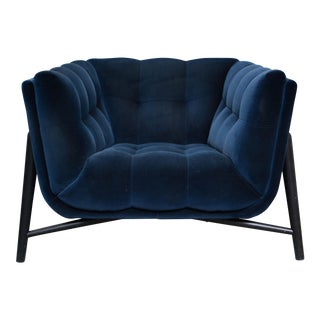 French Roche Bobois Navy Velvet Armchair