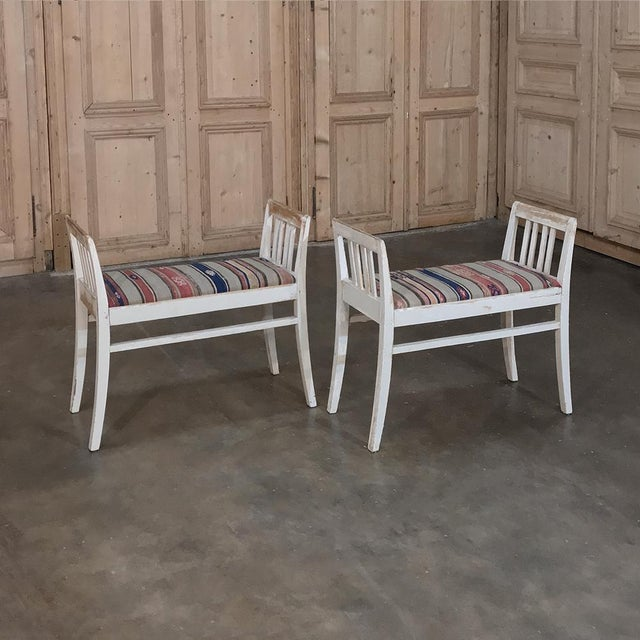 Pair 19th Century Antique Swedish White Painted Stools With Ikot Upholstery For Sale - Image 11 of 11