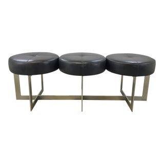 John Richard Modern Espresso Leather Three Seat Tufted Button Bench For Sale