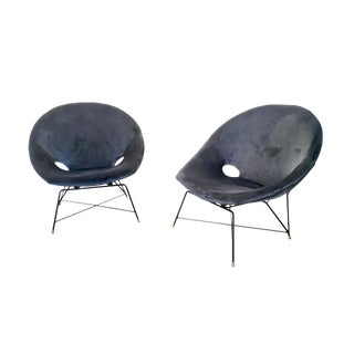 Pair of Blue Velvet Lounge Chairs by Augusto Bozzi for Saporiti, Italy, 1950s For Sale