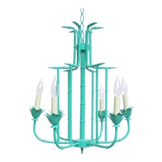 Palm Beach Regency Faux Bamboo Turquoise Lacquered Tole Chandelier For Sale