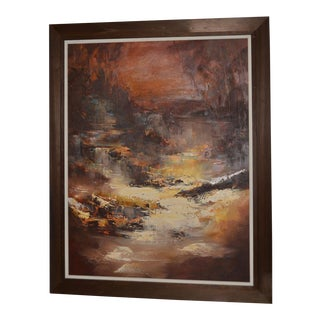 "Don Clausen ""Warm Winter Sky"" Abstract Landscape Oil Painting C.1963 For Sale"